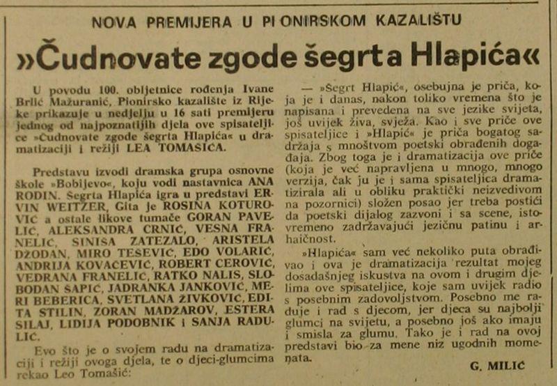 """Nova premijera u Pionirskom kazalištu: """"Čudnovate zgode šegrta Hlapića"""