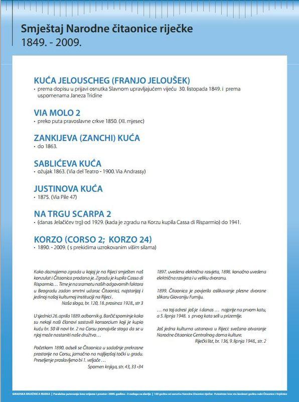 Narodna čitaonica riječka 1849. - 2009.